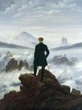 Vandraren ovanför havet av dimma, 1818 Gicléetryck av Caspar David Friedrich