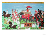 Colonel James Todd Travelling by Elephant Through Rajasthan with His Cavalry and Sepoys (Gouache) Giclée-tryk