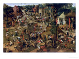 Fair with a Theatrical Performance, 1562 Giclée-tryk af Pieter Brueghel the Younger