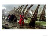 Richelieu (1585-1642) on the Sea Wall at La Rochelle, 1881 Lámina giclée por Henri-Paul Motte