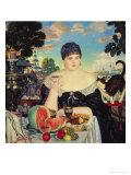 The Merchant's Wife at Tea, 1918 Lámina giclée por Boris Kustodiyev