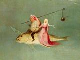 Le Tentazioni di Sant'Antonio, pannello destro, particolare di una coppia a cavallo di un pesce Stampa giclée di Hieronymus Bosch