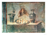 Still Life with Eggs and Thrushes, from the Villa Di Giulia Felice, Pompeii Giclée-tryk