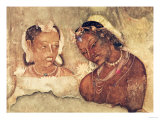 A Princess and Her Servant, Copy of a Fresco from the Ajanta Caves, India Giclée-tryk