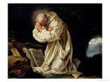 St. Bruno (1030-1101) Praying in the Desert, 1763 Giclee Print by Jean Bernard Restout