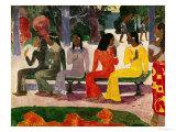 Ta Matete (We Shall Not Go to Market Today) 1892 Reproduction giclée Premium par Paul Gauguin