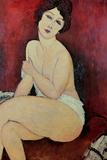 Nu assis sur un divan (La Belle Romaine) Reproduction procédé giclée par Amedeo Modigliani