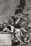 "The Sleep of Reason Produces Monsters, from ""Los Caprichos"" Giclée-tryk af Francisco de Goya"