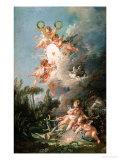 """Cupid's Target, from """"Les Amours Des Dieux,"""" 1758 Reproduction procédé giclée par Francois Boucher"""