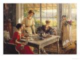 Women Taking Tea Giclée-tryk af Albert Lynch