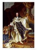 Portrait of Louis XV (1715-74) in His Coronation Robes, 1730 Reproduction procédé giclée par Hyacinthe Rigaud