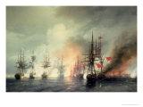 Russian-Turkish Sea Battle of Sinop on 18th November 1853, 1853 Giclée-tryk af Ivan Konstantinovich Aivazovsky