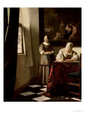 Lady Writing a Letter with Her Maid, circa 1670 Giclée-tryk af Johannes Vermeer
