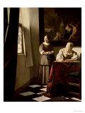 手紙を書く婦人と召使 1670年 ジクレープリント : ヨハネス・フェルメール