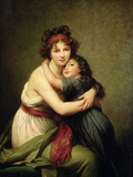 Madame Vigee-Lebrun and Her Daughter, Jeanne-Lucie-Louise (1780-1819) 1789 Giclée-tryk af Elisabeth Louise Vigee-LeBrun