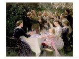 Hip, Hip, Hurra! Kunstnerfrokost på Skagen, 1888 Giclée-tryk af Peder Severin Kröyer