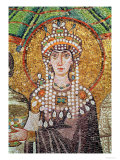 Empress Theodora with Her Court of Two Ministers and Seven Women, Detail of Theodora, circa 547 AD Giclée-tryk