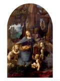 The Virgin of the Rocks (With the Infant St. John Adoring the Infant Christ) circa 1508 Giclée-tryk af Leonardo da Vinci,