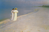 Summer Evening on the Skagen Southern Beach with Anna Ancher and Marie Kroyer, 1893 Giclée-tryk af Peder Severin Kröyer