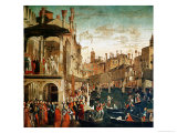 The Miracle of the Relic of the True Cross on the Rialto Bridge, 1494 Giclée-tryk af Vittore Carpaccio