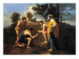 Arcadian Shepherds Giclee Print by Nicolas Poussin