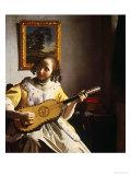 ギターを弾く女 1672年 ジクレープリント : ヨハネス・フェルメール