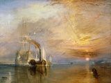 Fighting Temeraire hinataan viimeiselle laituripaikalle ennen hajottamista, ennen 1839 Giclée-vedos tekijänä J. M. W. Turner