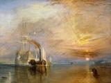 """Schip """"Fighting Temeraire"""" op weg naar laatste ligplaats voor sloop, voor 1839 Gicléedruk van J. M. W. Turner"""