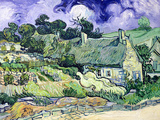 Thatched Cottages at Cordeville, Auvers-Sur-Oise, c.1890 Giclée-tryk af Vincent van Gogh