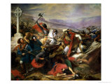 The Battle of Poitiers, 25th October 732, Won by Charles Martel (688-741) 1837 Reproduction procédé giclée par Charles Auguste Steuben