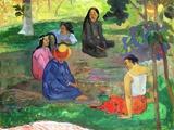 Les Parau Parau - paroles, paroles - ou les potins, 1891, Musée de l'Hermitage, St. Petersbourg Reproduction giclée Premium par Paul Gauguin