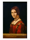 Portrait of a Lady from the Court of Milan, circa 1490-95 Giclée-tryk af Leonardo da Vinci,