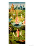 The Garden of Earthly Delights: the Garden of Eden, Left Wing of Triptych, circa 1500 Giclée-tryk af Hieronymus Bosch