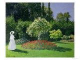 Woman in a Garden, 1867 Giclée-Druck von Claude Monet