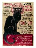 Affisch med reklam för en utställning av Collection Du Chat Noir Cabaret på Hotel Drouot, Paris Gicléetryck av Théophile Alexandre Steinlen