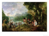 Embarkation for Cythera, 1717 Giclée-tryk af Jean Antoine Watteau