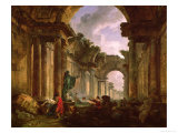 Imaginary View of the Grand Gallery of the Louvre in Ruins, 1796 Giclee Print by Hubert Robert