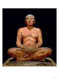 Crouching Scribe Statue, from Saqqara, Old Kingdom (Limestone, Alabaster & Rock Crystal) Lámina giclée