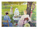 Family in the Orchard, 1890 Gicléetryck av Théo van Rysselberghe