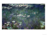 Waterlilies: Green Reflections, 1914-18 (Central Section) Giclée-tryk af Claude Monet