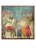 St. Francis Gives His Coat to a Stranger, 1296-97 Giclée-tryk af  Giotto di Bondone
