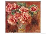 Roses in a Vase, circa 1890 Giclée-tryk af Pierre-Auguste Renoir