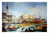The Betrothal of the Venetian Doge to the Adriatic Sea, circa 1739-30 Giclée-tryk af  Canaletto
