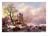 Winter Landscape with a Castle Giclee Print by Frederik Marianus Kruseman