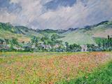 The Poppy Field Near Giverny, 1885 Giclée-tryk af Claude Monet