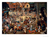 Fight Between Carnival and Lent, 1559 Giclée-Premiumdruck von Pieter Bruegel the Elder
