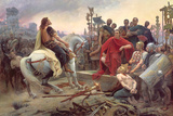 Vercingetorix Throws Down His Arms at the Feet of Julius Caesar, 1899 Giclée-tryk af Lionel Noel Royer