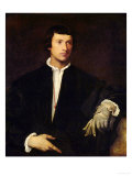 The Man with a Glove, circa 1520 Giclée-tryk af  Titian (Tiziano Vecelli)