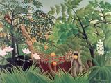 Exotische Landschaft mit spielenden Affen, 1910 Giclée-Druck von Henri Rousseau