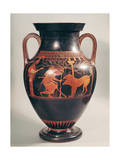 Attic Red-Figure Belly Amphora of Herakles Capturing Kerberus, Greek, from Athens, 6th Century B Giclée-tryk af  Andokides